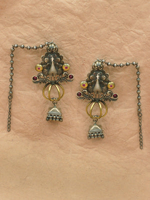 Antique Dual Tone Chain Earring S22111