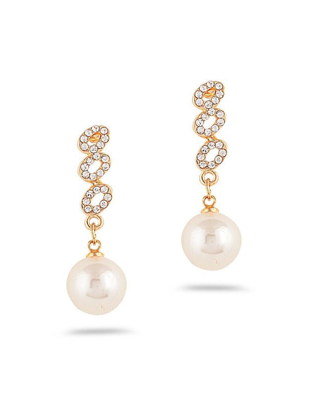 SIA Gold-Plated & White Contemporary Drop Earrings S23617-SIA Jewellery