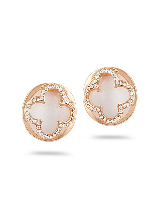 SIA Gold-Plated & White Circular Studs S23619 - SIA Jewellery