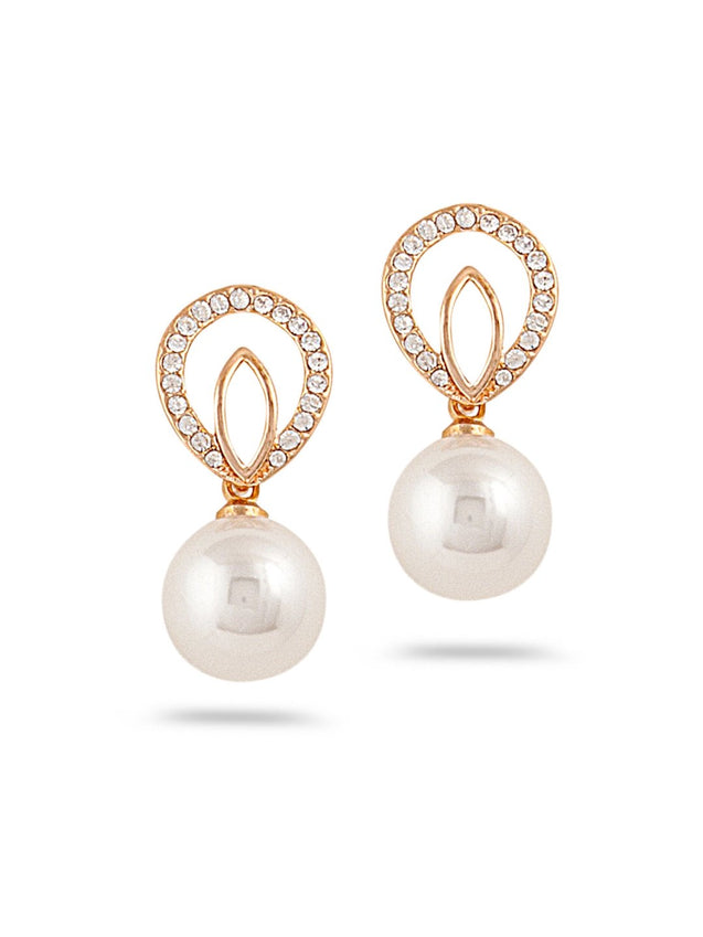 SIA Gold-Plated & White Contemporary Drop Earrings S23630-SIA Jewellery
