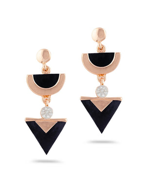 SIA Gold-Plated & White Triangular Drop Earrings S23634 - SIA Jewellery