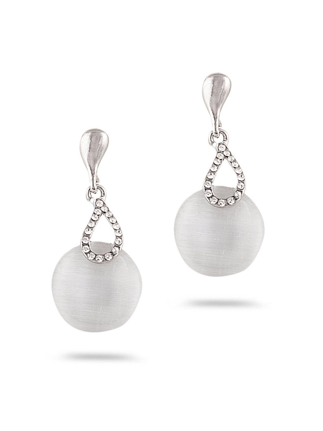 SIA Silver-Plated & White Contemporary Drop Earrings S23638 - SIA Jewellery