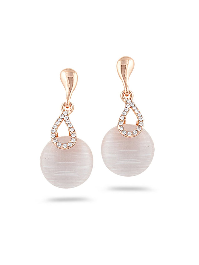 SIA Gold-Plated & White Contemporary Drop Earrings S23652 - SIA Jewellery