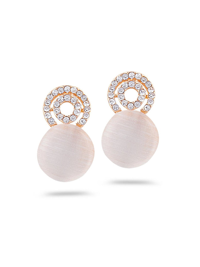 SIA Gold-Plated & White Contemporary Drop Earrings S23653-SIA Jewellery