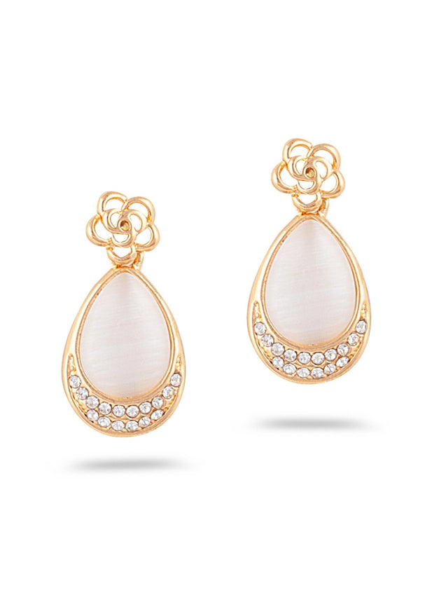 SIA Gold-Plated & White Contemporary Drop Earrings S23657 - SIA Jewellery
