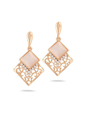 SIA Gold-Plated & White Contemporary Drop Earrings S23702 - SIA Jewellery