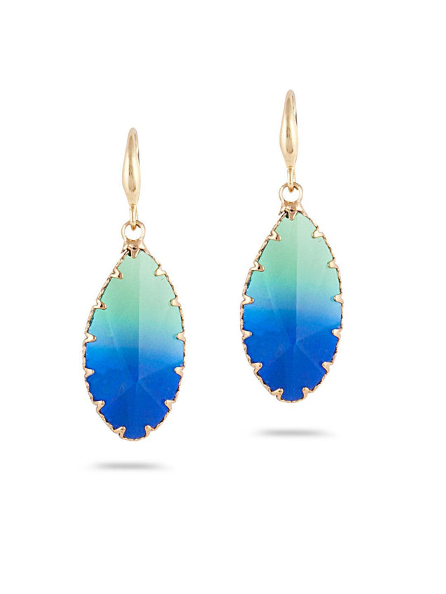 SIA Gold-Plated & Multicolour Oval Drop Earrings S23739 - SIA Jewellery