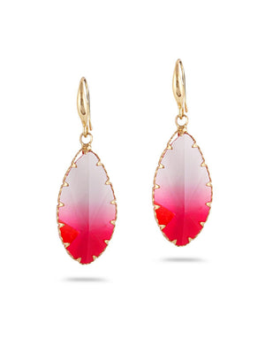 SIA Gold-Plated & Multicolour Oval Drop Earrings S23741 - SIA Jewellery