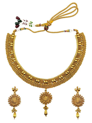 Ethnic Gold Plated South Indian Necklace Set S24373 - SIA Jewellery