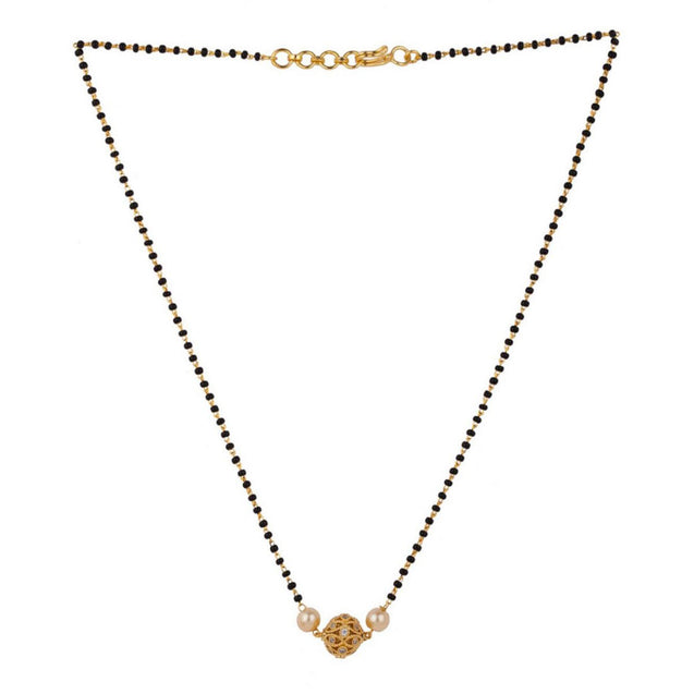 Sia Gold-Plated & Black Stone-Studded Beaded Mangalsutra S24599-SIA Jewellery