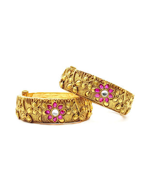 Antique Gold Ruby Flower Bangles S25235 - SIA Jewellery