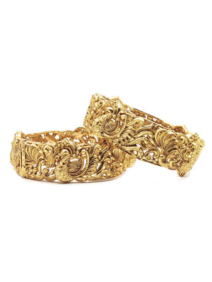 Antique Gold Peacock Bangles S25255 - SIA Jewellery