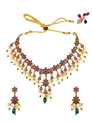 Temple Kempu Stone Necklace Set S25347-SIA Jewellery
