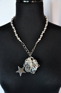 Silver Ball Chunky Charm Necklace