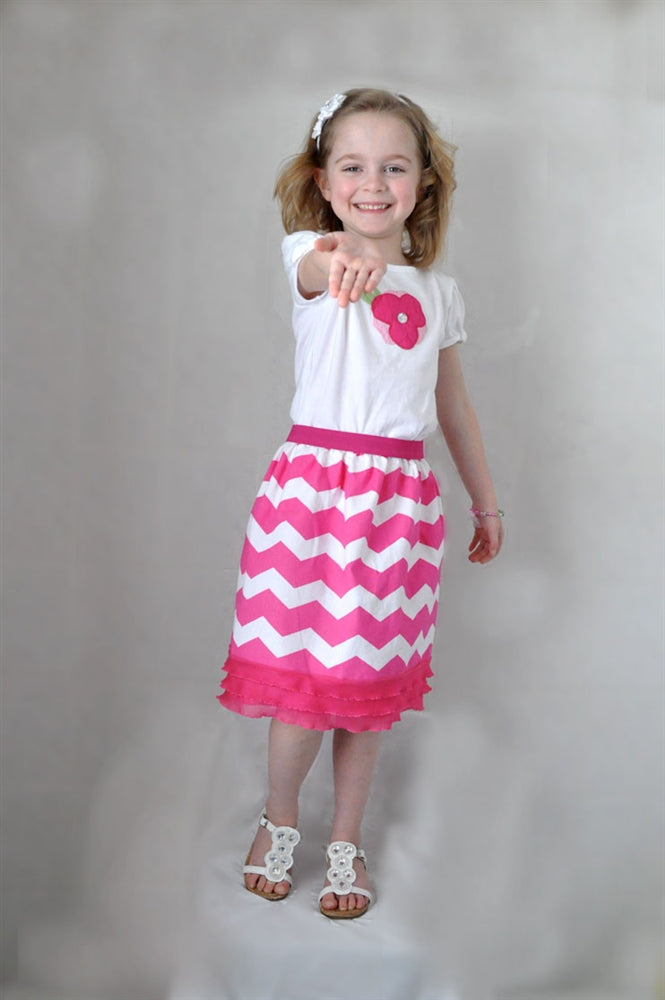 Hot Pink Chevron Skirt