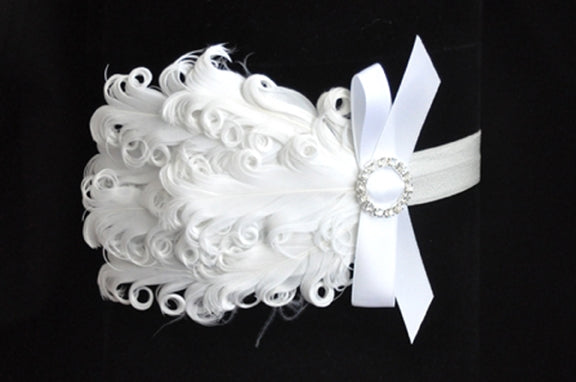 Feather Rhinestone Bow Headband