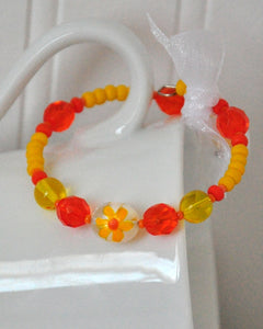 Yellow Orange Flower Bracelet