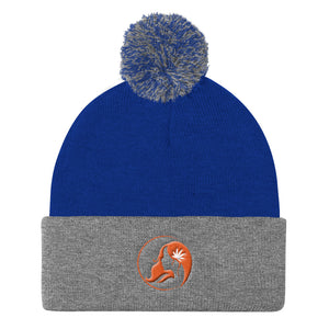 Pom Pom Knit Cap w/ Orange Logo