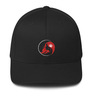 Fitted Twill Cap w/ White/Red Logo