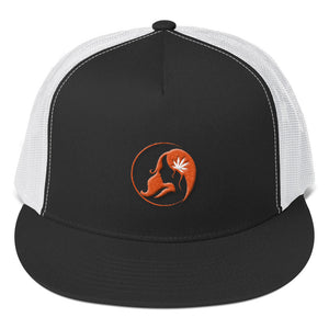 Five Panel Trucker Cap w/ Orange Logo