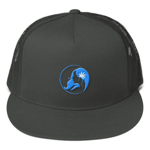 Five Panel Trucker Cap w/ Aqua Logo