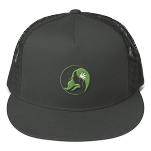 Five Panel Trucker Cap w/ Green Logo