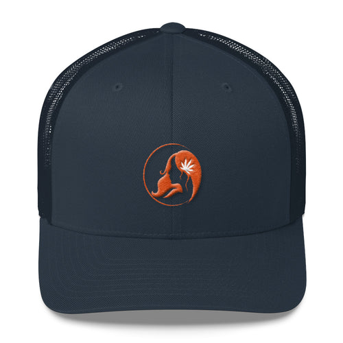Retro Trucker Cap w/ Orange Logo