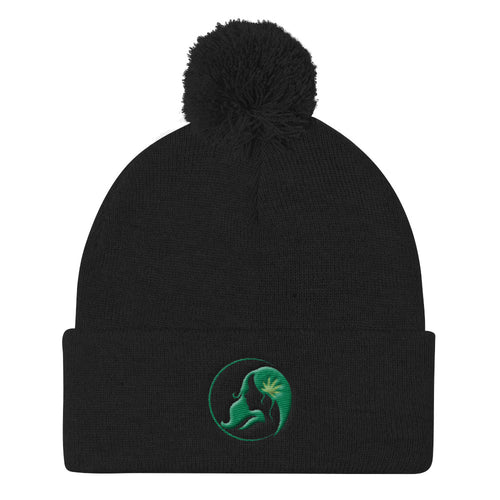 Pom Pom Knit Cap w/ Dark Green Logo