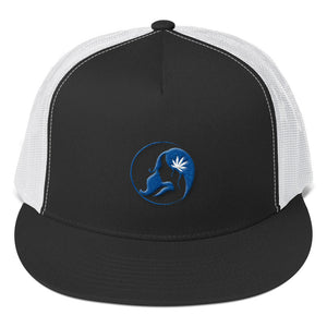 Five Panel Trucker Cap w/ Blue Logo