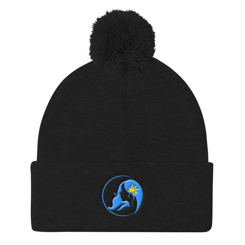 Pom Pom Knit Cap w/ Blue/Yellow Logo