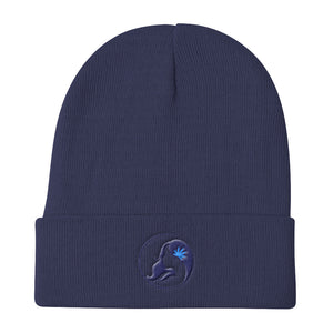 Knit Beanie w/ Dark Blue Logo