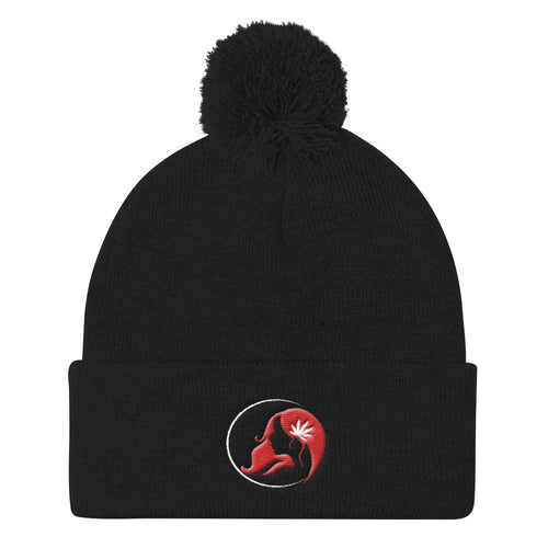 Pom Pom Knit Cap w/ White/Red Logo