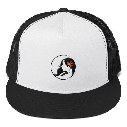 Five Panel Trucker Cap w/ Black/Orange Logo