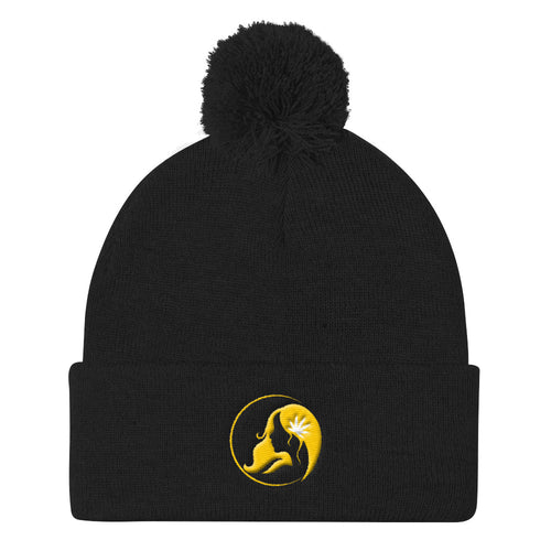Pom Pom Knit Cap w/ Yellow Logo