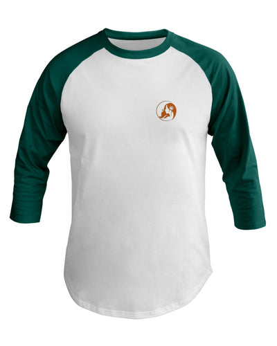 Ms. Mary's 3/4 Sleeve Raglan Shirt (Small Orange Logo)