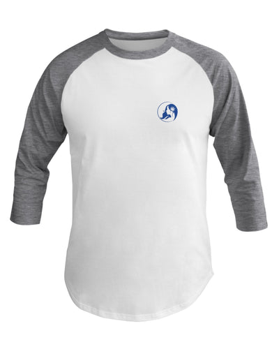 Ms. Mary's 3/4 Sleeve Raglan Shirt (Small Blue Logo)
