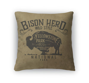 Throw Pillow, Vintage Western Buffalo Silhouette Print