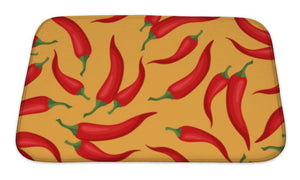 Bath Mat, Pattern With Fresh Ripe Chili Peppers