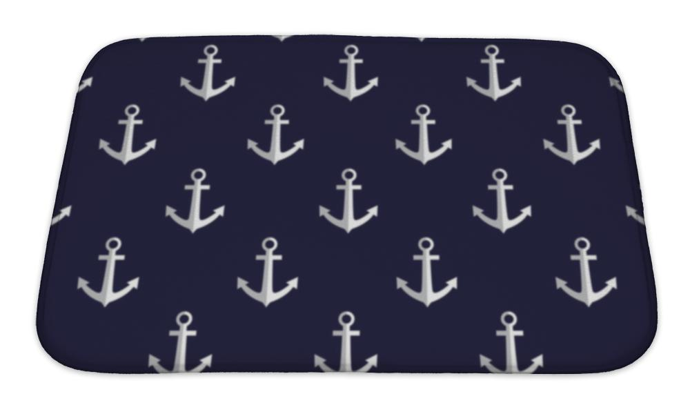 Bath Mat, Sea Style Pattern With Anchors