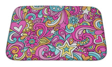 Load image into Gallery viewer, Bath Mat, Peace Sign Doodles Repeat Pattern
