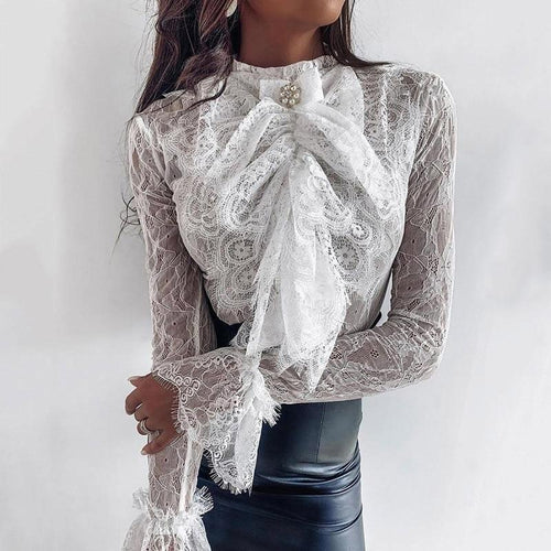 Sexy Flare Sleeve Embroidery Lace Blouse