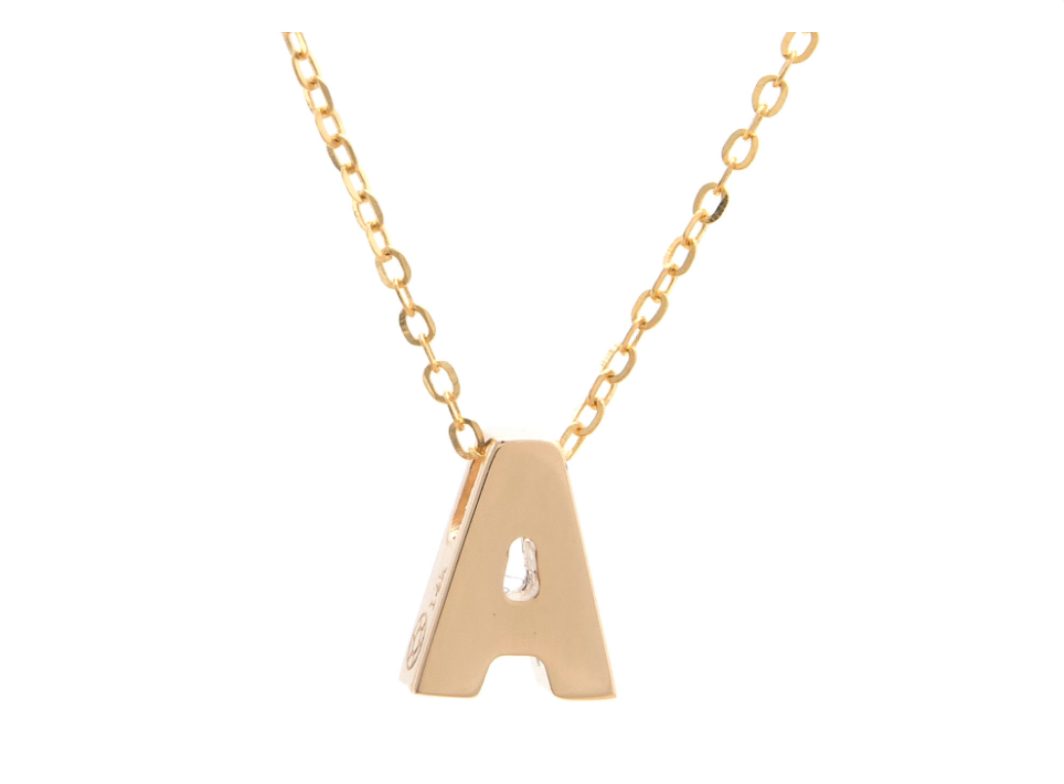 14k Yellow Gold Initials Pendant Necklace