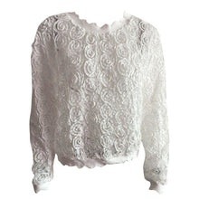 Load image into Gallery viewer, White Flower Mesh Lantern Sleeve Top