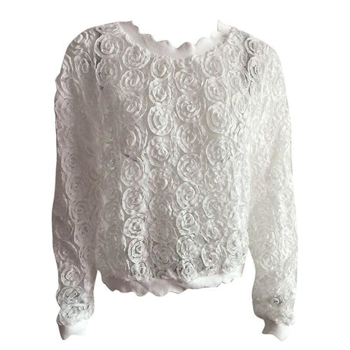 White Flower Mesh Lantern Sleeve Top