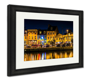 Framed Print, Shops And Restaurants At Night In Fells Point Baltimore Maryla