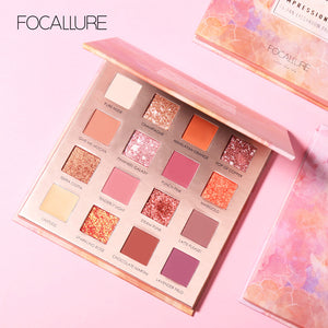 FOCALLURE 16 colors Sunrise Glitter Eyeshadow palette easy to wear Matte pigmented Eye shadow powder Eyeshadow pallete