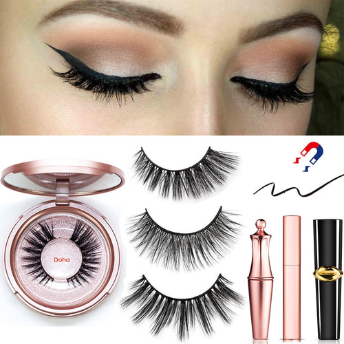 Magnetic Eyeliner Eyelashes Set Natural Thick - Handmade