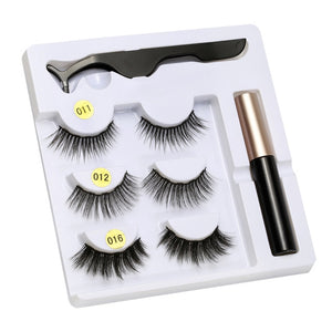 PONYTREE - 5 Magnet Eyelashes with Liquid Eyeliner & Tweezer Set
