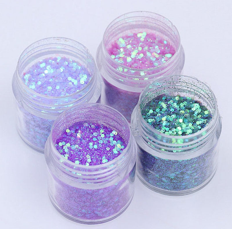 4pcs/set (4colors )10ml Shiny Purple Nail Glitter