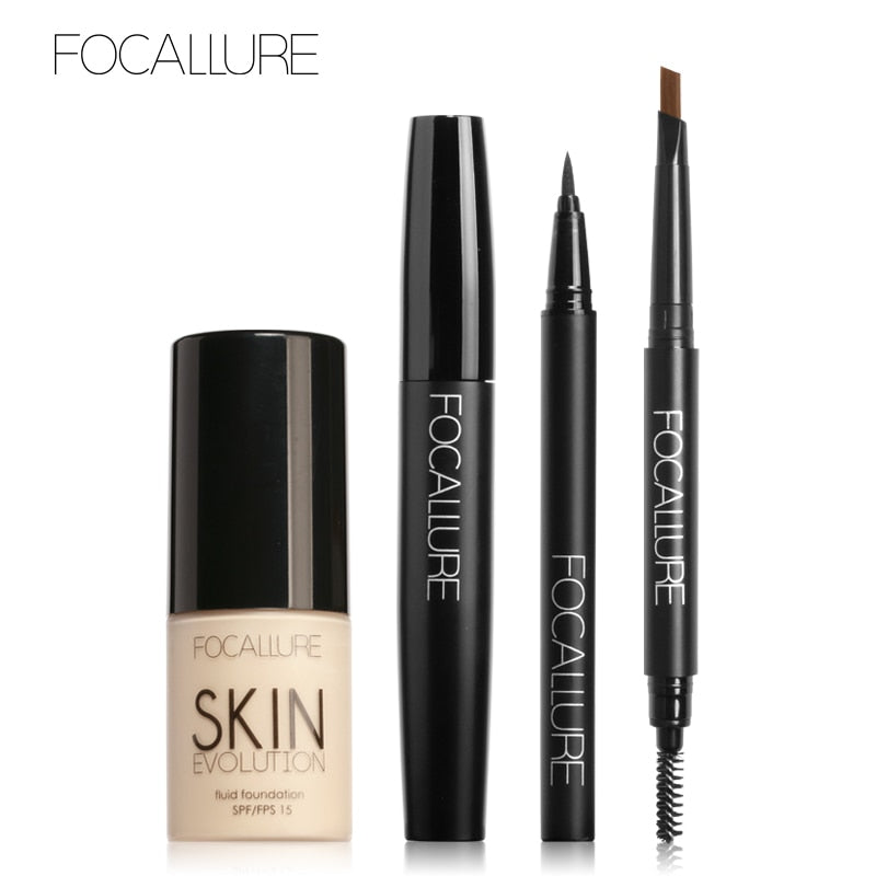 FOCALLURE 4 Piece Makeup Set - Foundation Cream Eyeliner Pen & Black Volume Mascara Eyebrow Pencil